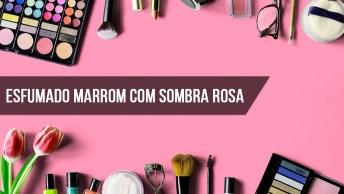 Esfumado Marrom Com Sombra Rosa Cintilante, E Linha D'Água Esfumada De Preto!