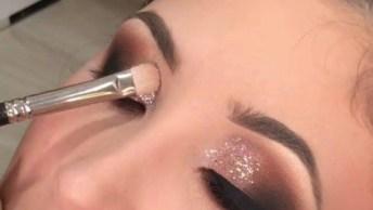 Finalizando Sombra Com Glitter Bronze Rosado, Olha Só Que Linda!