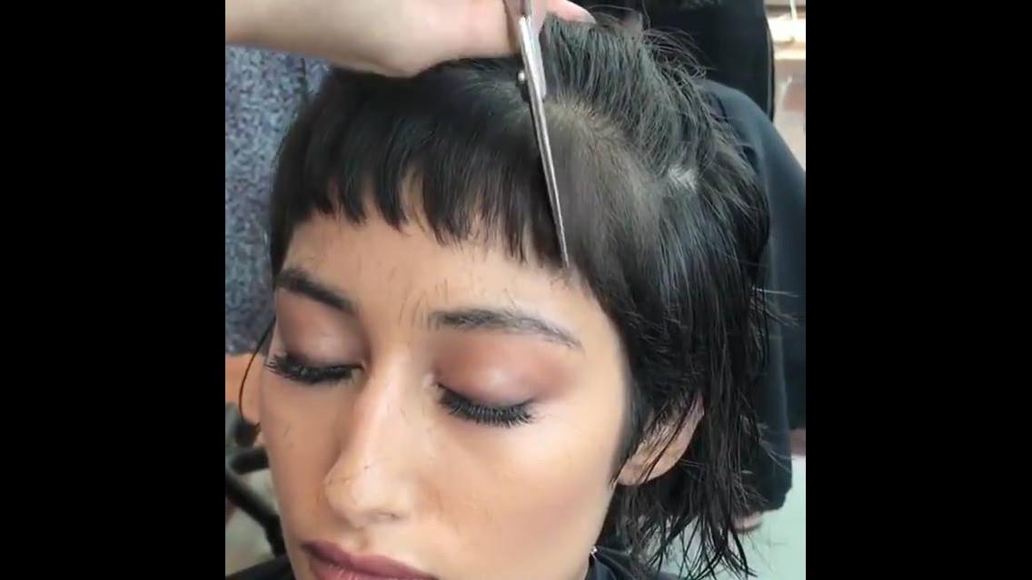 Franja curta para cabelos moderno