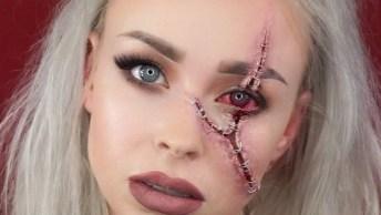 Ideia De Maquiagem Para Curtir O Halloween, Bem Fácil De Fazer E Fica Legal!