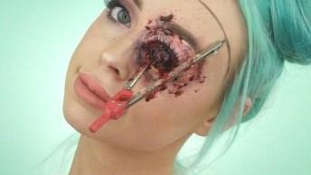 Ideia De Maquiagem Para Halloween, O Resultado É Assustador Hahaha!