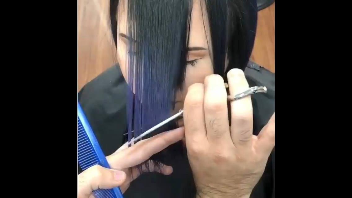 Inspiração de cabelos chanel nas cores azul