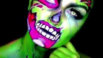 Inspiração De Make Zumbi Verde Para Halloween, Olha Só Os Detalhes Desta Make!