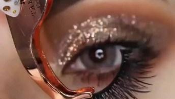 Inspiração De Makepara Os Olhos, Com Esfumado Marrom E Sombra Dourada!