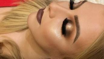 Inspiração De Maquiagem Com Sombra Cobre E Esfumado Marrom, E Pele Iluminada!