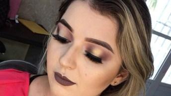 Inspiração De Maquiagem Com Sombra Dourada E Esfumado Marrom, E Batom Marrom!