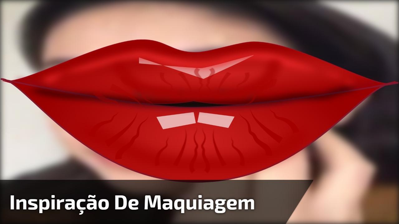 Inspiração de maquiagem com sombra marrom clarinha, e batom vermelho!!!