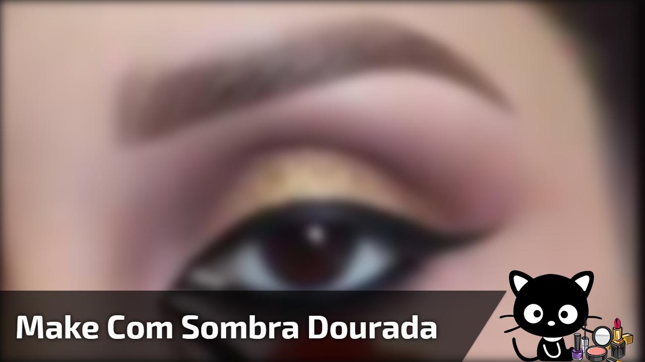 Inspiração de maquiagem marrom com sombra dourada, simplesmente perfeita!!!