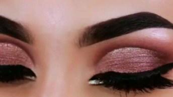Inspiração De Maquiagem Na Cor Marrom Marrom Metálica, Com Delineado Maravilhoso