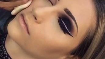 Inspiração De Maquiagem Para Festa Com Delineado Com Contorno Com Glitter!