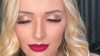 Inspiração De Maquiagem Para Noite, Olha Só Que Lindo Batom Vermelho!
