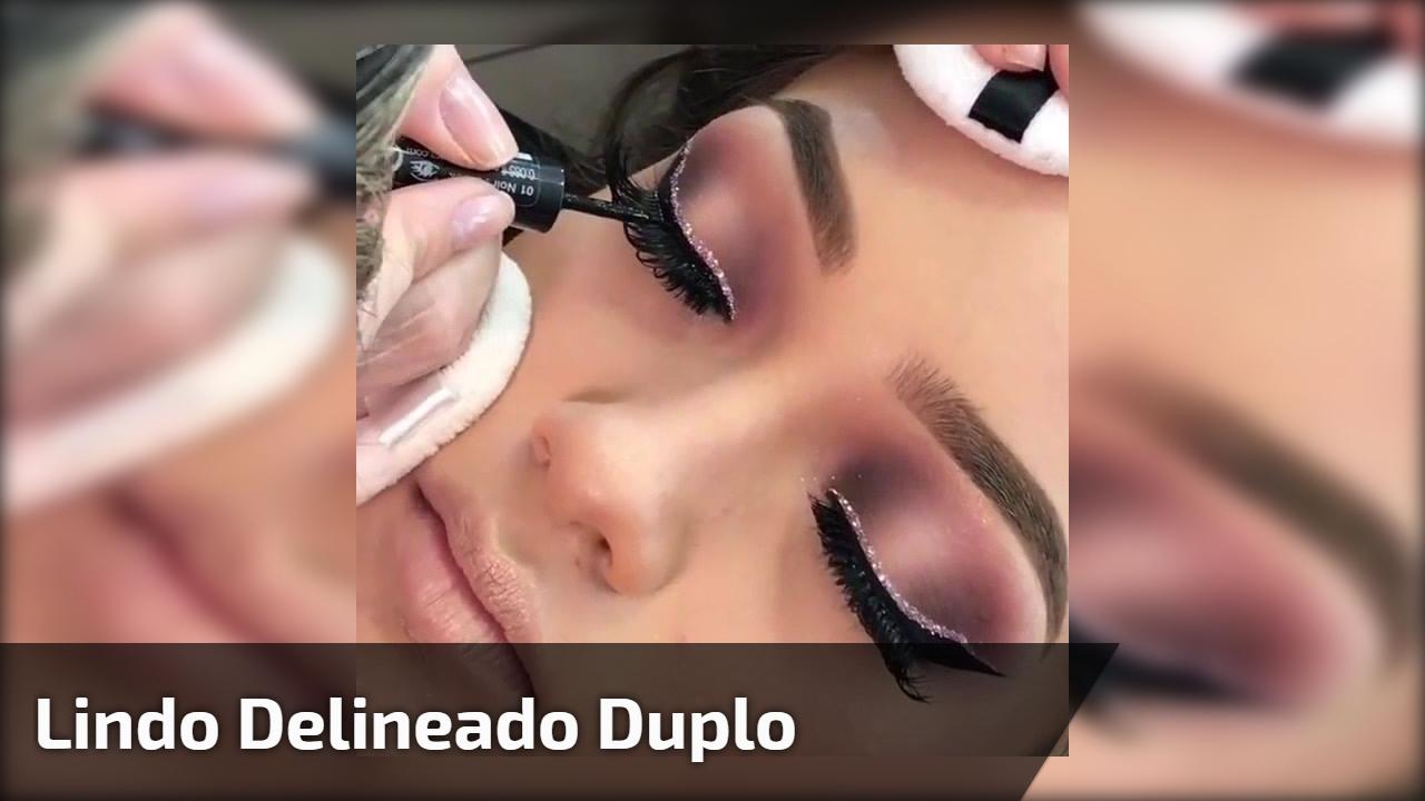 Inspiração de maquiagem para os olhos com delineado com detalhe de Glitter!!!