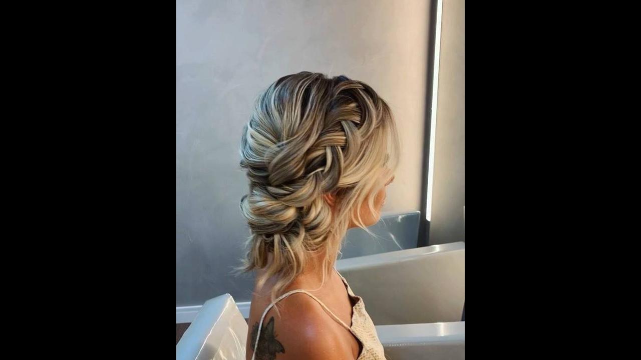 Inspiração de penteado com trança embutida com coque baixo despojado!!!