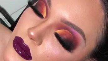 Inspiração De Sombra Amarela Com Laranja, Vermelho E Rosa, Olha Só Que Linda!