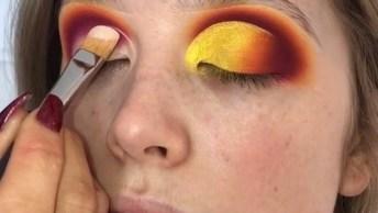 Inspiração De Sombra Com Esfumado Laranja E Rosa, E Sombra Amarela!