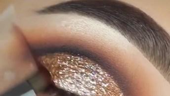 Inspiração De Sombra Para Os Olhos Com Aplicação De Glitter Dourado!