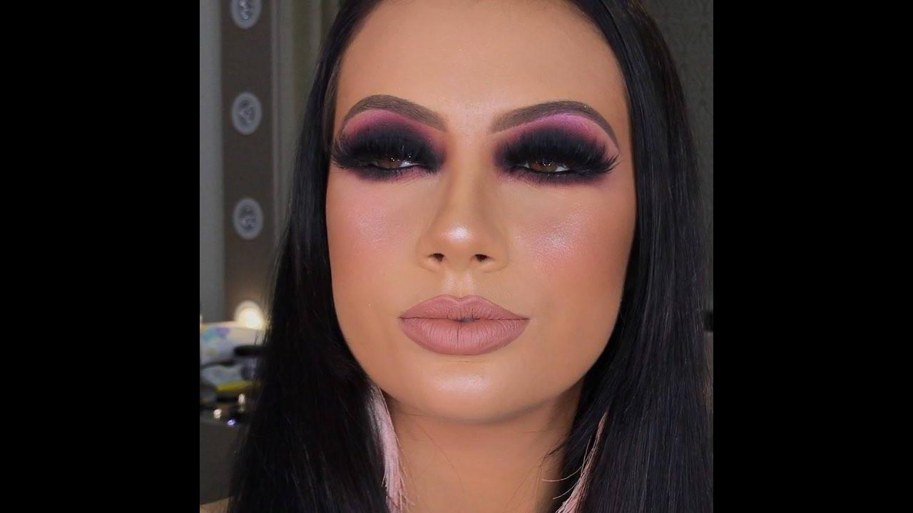 Inspiração de sombra preta com esfumado rosa