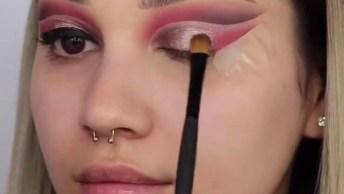 Inspiração De Sombra Rosa Com Esfumado Marrom, E Delineado Bem Marcado!