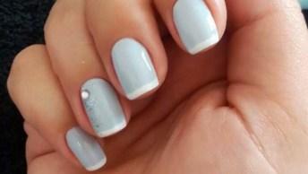 Inspiração De Unha Com Esmalte Azul Pastel Com Francesinha, Veja Que Delicadeza!