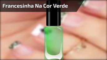 Inspiração De Unha Com Francesinha Na Verde Com Bolinhas Brancas!