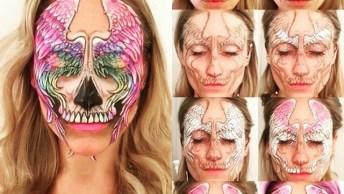 Linda Maquiagem Artística De Caveira Mexicana, Vale A Pena Conferir!