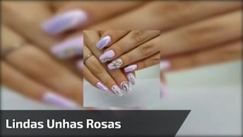 Lindas Unhas Rosas Com Pó Cromado E Pedraria, Uma Inspiração Para Você!