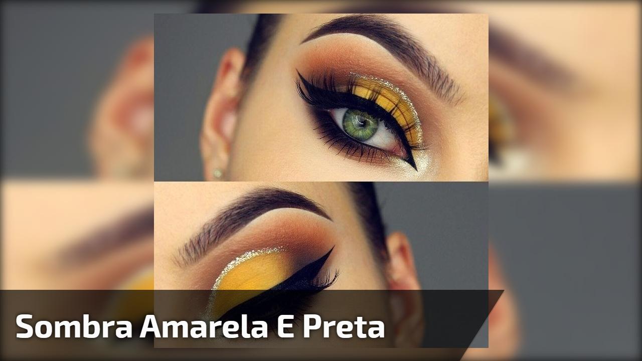 Maquiagem amarela com esfumado preto, o resultado impressiona!