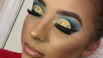Maquiagem Amarela Com Glitter E Esfumado Azul, Um Show!