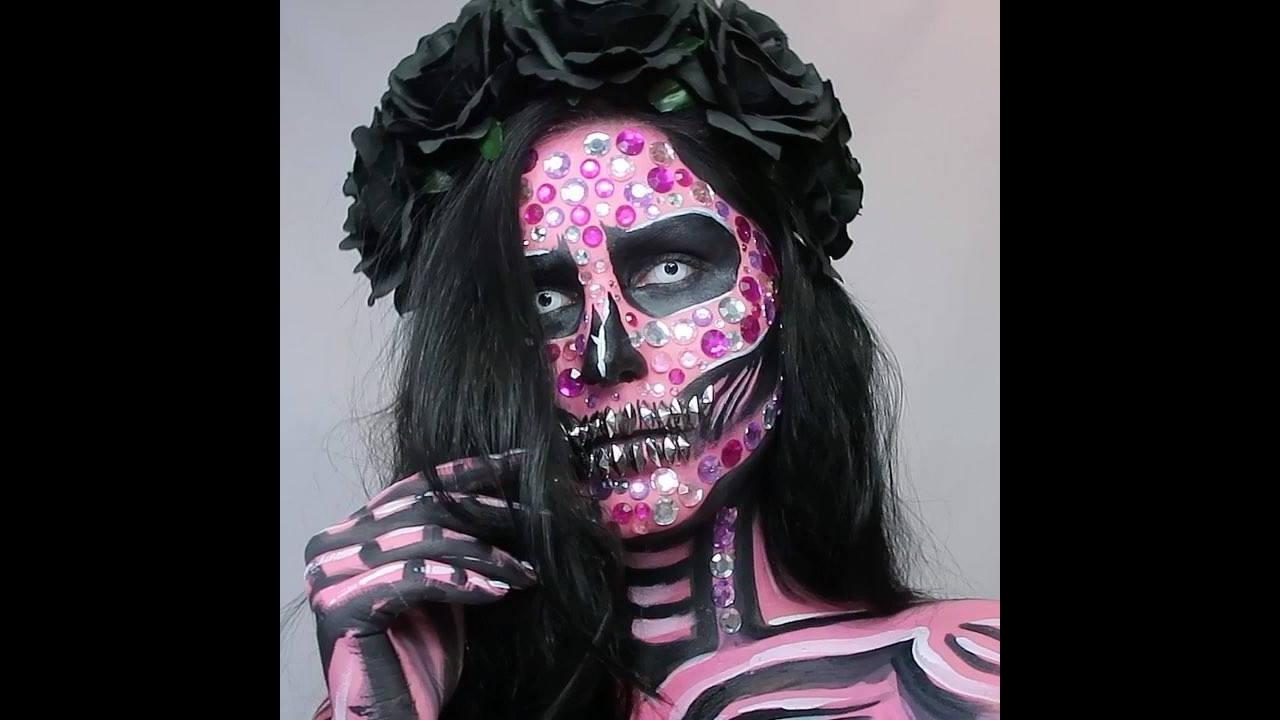 Maquiagem artística de caveira mexicana maravilhosa