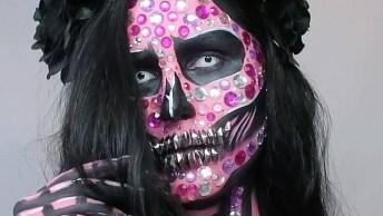 Maquiagem Artística De Caveira Mexicana Maravilhosa, Veja Que Trabalho Incrível!