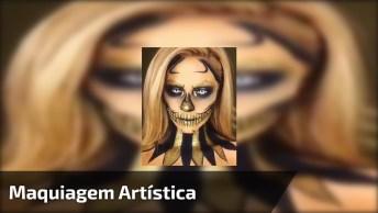 Maquiagem Artística De Caveira Mexicana Na Cor Dourada E Preta!