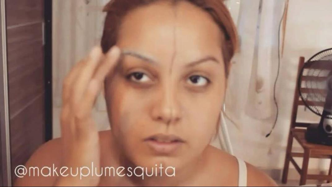 Maquiagem Bela e a Fera no mesmo rosto de uma mulher