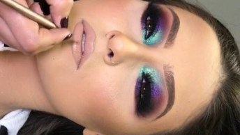 Maquiagem Colorida Com Batom Marrom Claro, Uma Linda Opção Para Balada!
