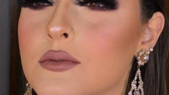 Maquiagem Com Batom Marrom Claro E Sombra Marcante, Mais Uma Linda Opção!