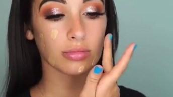 Maquiagem Com Batom Marrom Claro, Fica Muito Lindo O Resultado Final!