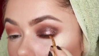Maquiagem Com Batom Rosa Claro E Sombra Acobreada, O Resultado É Lindo!