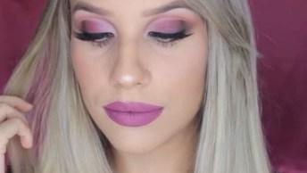 Maquiagem Com Batom Rosa Maravilhoso, Veja Que Luxo De Cor!