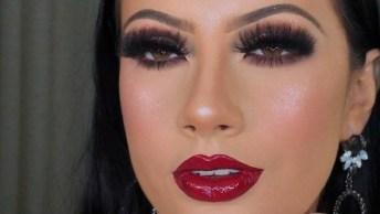 Maquiagem Com Batom Vermelho Lindo E Sombra Perfeita, Confira!