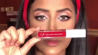 Maquiagem Com Batom Vermelho Vivo, O Resultado É Maravilhoso!