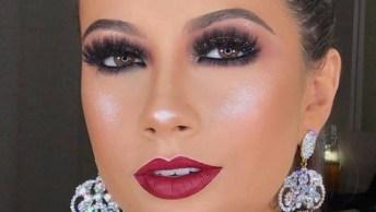 Maquiagem Com Brilho Na Sombra E Batom Vermelho, Uma Linda Combinação!