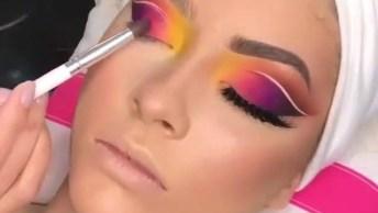 Maquiagem Com Cores Vibrantes, Veja Que Sombra Maravilhosa!