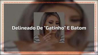 Maquiagem Com Delineado De 'Gatinho' E Batom Vermelho, Confira!