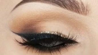 Maquiagem Com Delineado Dourado Nos Olhos, Ficou Muito Bom!