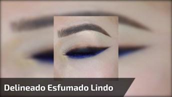 Maquiagem Com Delineado Esfumado Preto, E Esfumado Azul Na Parte Inferior!