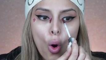 Maquiagem Com Delineado Lindo E Batom Claro, Uma Ideia Maravilhosa!