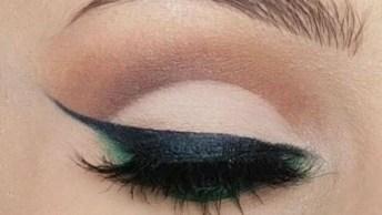 Maquiagem Com Delineado Preto Nos Olhos, E Sombreado Verne Na Linha D'Água!