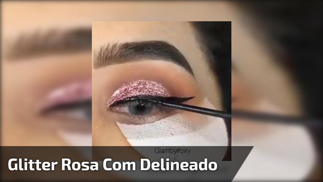 Maquiagem com esfumado marrom e Glitter rosa com delineado!!!