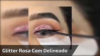 Maquiagem Com Esfumado Marrom E Glitter Rosa Com Delineado!