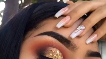 Maquiagem Com Esfumado Marrom E Laranja, Com Sombra E Flocos Dourados!