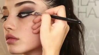 Maquiagem Com Esfumado Marrom E Preto Com Delineado Duplo!